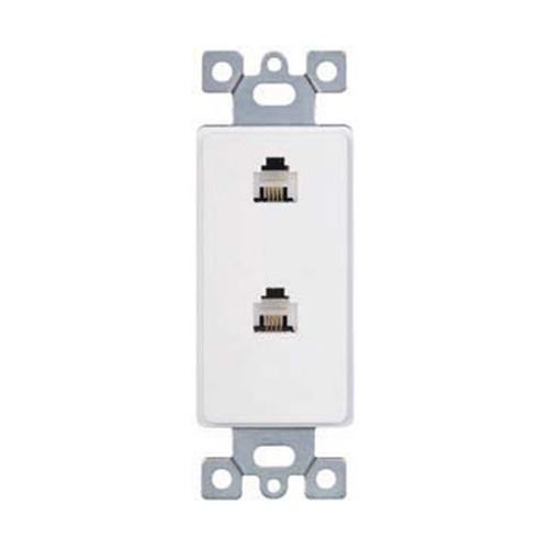 Decorator Style Insert, Duplex RJ11 Phone Jack, 4-Position, 4-Conductor Device, White