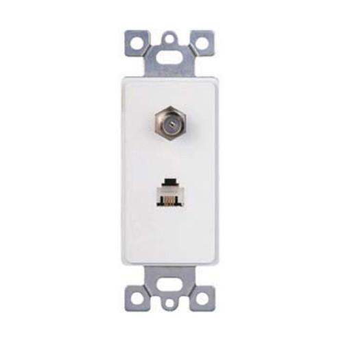 Decorator Style Insert, Combination - One RJ11 Phone Jack, One TV Cable Jack, White