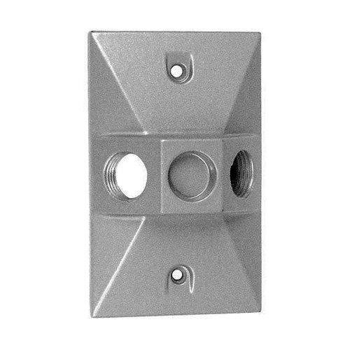 Weatherproof 1-Gang Rectangular Cover, 2 Holes 1/2""