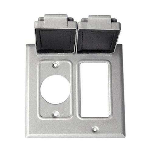 "2-Gang Weatherproof Box Cover, One GFCI / One Single Receptacle (1.41"" Diameter)"