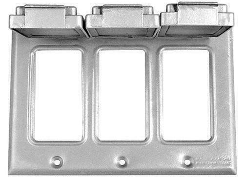 3-Gang Weatherproof Box Cover, Three GFCI / Decorator