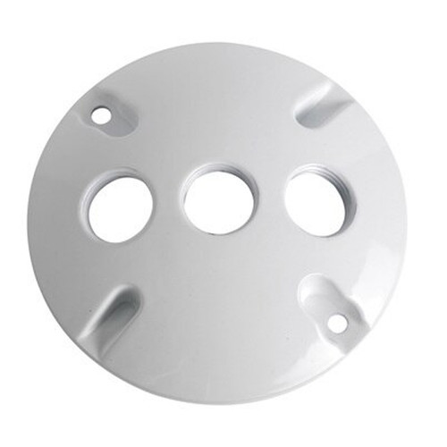"""4"""" Weatherproof Round Cover, 3 Holes, 1/2"""", White"""