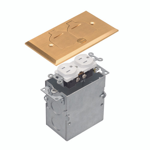 Floor Box Assembly, Rectangular 1-Gang Flip Cover, Brass