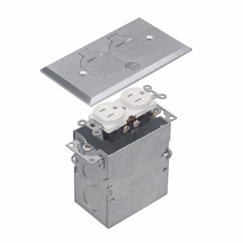 Floor Box Assembly, Rectangular 1-Gang Flip Cover, Nickel-Plated Brass