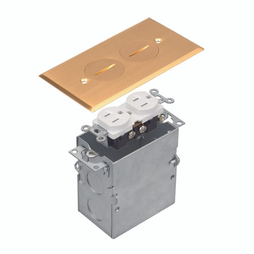 Floor Box Assembly, Rectangular 1-Gang Screw-In Cover, Brass