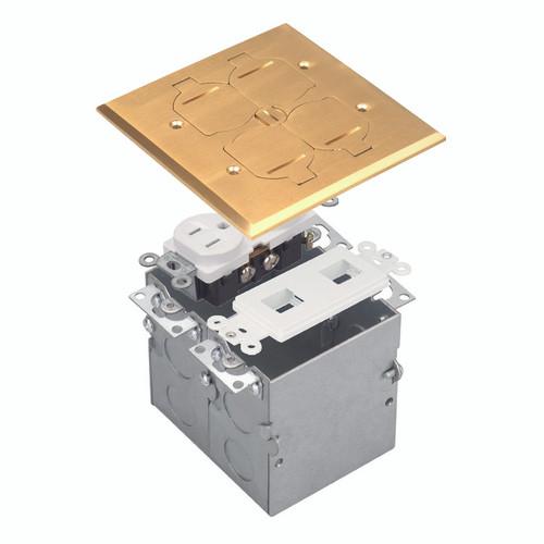 Floor Box Assembly, Square 2-Gang Flip Cover w/ Datacom, Brass