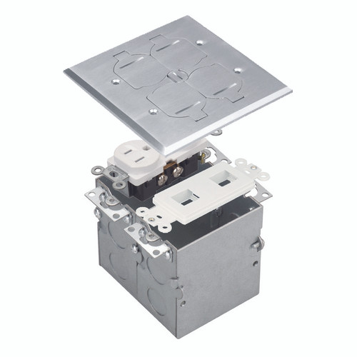 Floor Box Assembly, Square 2-Gang Flip Cover w/ Datacom, Nickel-Plated Brass