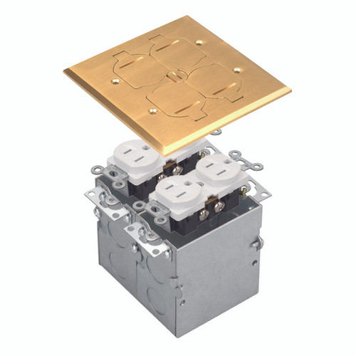 Floor Box Assembly, Square 2-Gang Flip Cover, Brass