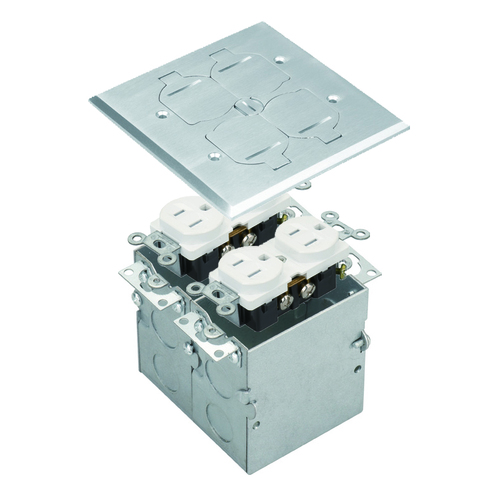 Floor Box Assembly, Square 2-Gang Flip Cover, Nickel-Plated Brass