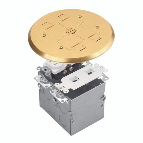 Floor Box Assembly, Round 2-Gang Flip Cover w/ Datacom, Brass