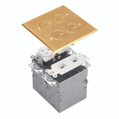 Floor Box Assembly, Square 2-Gang Screw-In Cover w/ Datacom, Brass