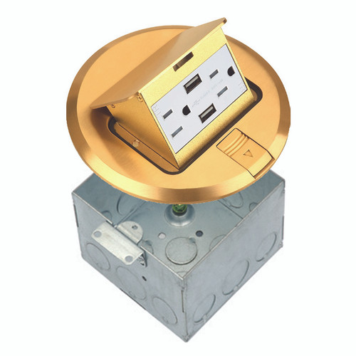 Floor Box Assembly, Round Pop-Up Cover w/ USB Outlet, Brass