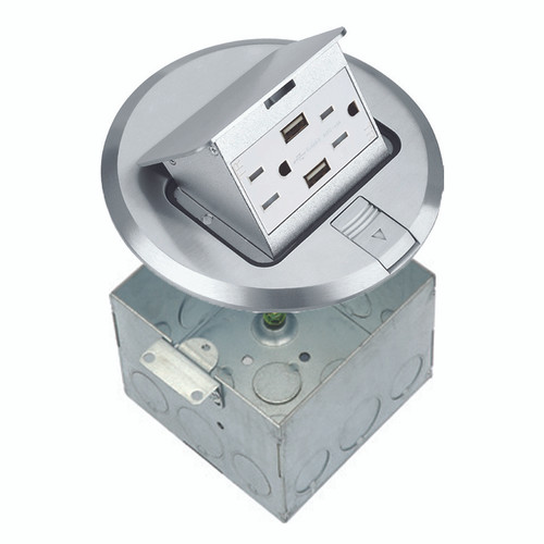 Floor Box Assembly, Round Pop-Up Cover w/ USB Outlet, Nickel-Plated Brass