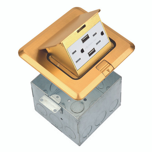 Floor Box Assembly, Square Pop-Up Cover w/ USB Outlet, Brass