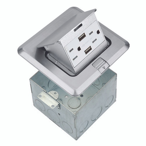 Floor Box Assembly, Square Pop-Up Cover w/ USB Outlet, Nickel-Plated Brass