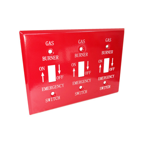 3-Gang Toggle Wall Plate, Steel, Red Emergency Gas