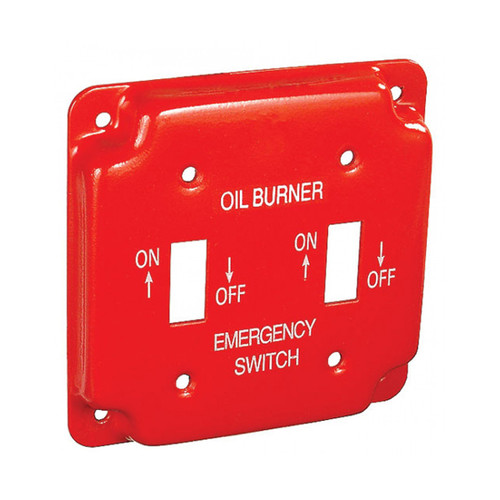 """4"""" Square Finished Cover Raised 1/2"""" w/ 2 Toggle Switches, Red Emergency Oil Cover"""