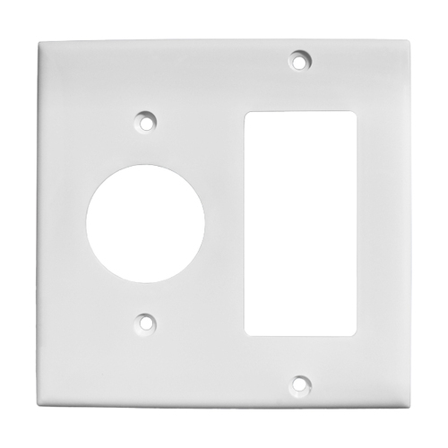 2-Gang Combo Wall Plate - 1 Single, 1 Decora
