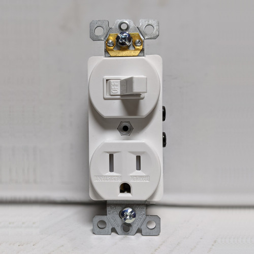 Toggle Switch & 15A Tamper Resistant Outlet Combination Wiring Device