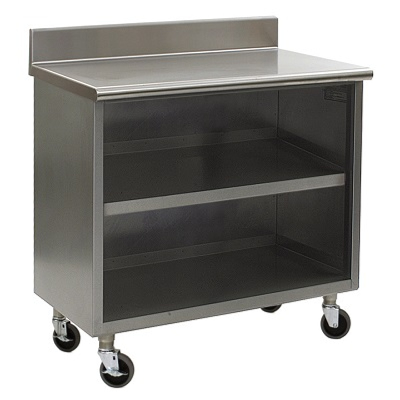 - Stainless Steel Lab Cabinets; Backsplash, Wheels, Open Base W