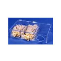 "Glove Dispensers - 3 Compartments - Amber Acrylic  24-1/2""W x 4-1/2""H x 14-3/4""D  AK-793-A  by Cleanroom World"