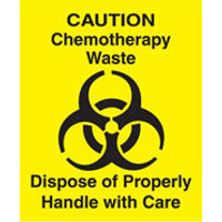 Trash Receptacle Label - Chemotherapy Waste by Cleanroom World