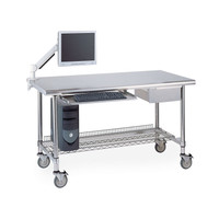 Worktables, 3-Sided Frame, Keyboard Tray, Drawer, Flat Monitor Arm, Wire Shelf By Cleanroom World