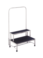 """Step Stools; Stainless Steel, 2 Steps, Hand Rail, 24""""W x 16""""D x 16""""H By Cleanroom World"""