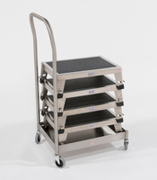 "Stacking Step Stool Dolly, Stainless Steel, 23""W x 13""D x 39""H by Cleanroom World"