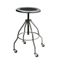 "Stainless Steel Stools; Height: 21""-33"", Casters, 15""Dia Seat, Type 304 Stainless Steel By Cleanroom World"