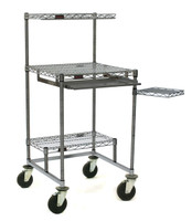 Cleanroom Computer Carts, Chrome, Polyurethane Non Marking Casters, 30x30 by Cleanroom World