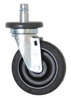 "Casters; 5"" Diameter, Resilient Rubber Wheels, Stem/Swivel, Zinc Hardware By Cleanroom World"