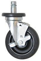 "Casters; 5"" Diameter, Resilient Rubber Wheels, Stem/Brake, Zinc Hardware By Cleanroom World"