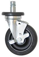 "Casters; 5"" Diameter, Resilient Rubber Wheels, Stem/Brake, Zinc Hardware By Cleanroom World"
