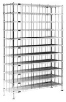 Wire Shoe Racks, Chrome, 60 Cubbies by Cleanroom World