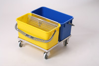 Mop Bucket Systems, MicroNova SlimLine, 2 Buckets, Blue & Yellow Plastic, and cart by Cleanroom World