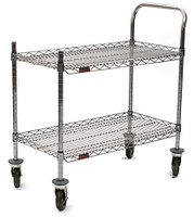 "Chrome Utility Cart, 2 Wire Shelves, 1 handle, 18"" x 36"" by Cleanroom World"