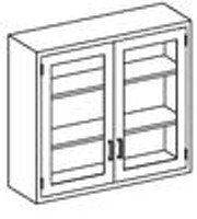 """Stainless Steel Lab Furniture,  Wall Mount 2 Glass Doors 47""""x 13""""x 30""""H by Cleanroom World"""
