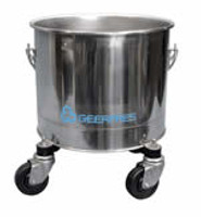 Mop Buckets, Type 304 Stainless Steel, 8 Gallon, Round, Autoclavable, Casters by Cleanroom World