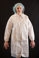 Polypropylene Lab Coats, Snap Front, Elastic Wrists, 2 Pockets, 2XL by Cleanroom World