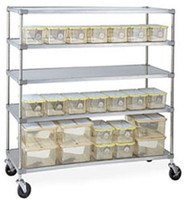 "Autoclavable Lab Rack, 5 Solid Stainless Shelves, Phenolic Casters, 18"" x 60""  by Cleanroom World"