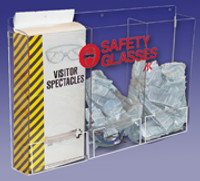 "Safety Glass Dispensers - Triple - Acrylic   24""W x 15""H x 4""D  AK-229-13  by Cleanroom World"