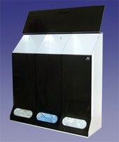 "Acrylic Dispensers - 3 Compartment, Extra Large Capacity 30""W x 30""H x 10""D   AK-JN3  by Cleanroom World"