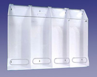 "Acrylic Multi Purpose Dispensers - 4 Compartment,  XXL - Clear/White  40""W x 30""H x 10""D AK-JN4-C by Cleanroom World"