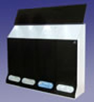 "Garment Dispensers, 4 Compartments, Black, Acrylic  40""W x 30""H x 10""D   AK-JN4-S by Cleanroom World"