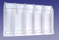 "Garment Dispensers, 5 Compartments, Clear / White, 45""W x 30""H x 10""D  AK-JN5-C  by Cleanroom World"