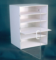 "Acrylic Cabinets - 5 Shelves, 4 Removable  15-3/4""W x 24""H x 12-1/2""D  AK-510  by Cleanroom World"