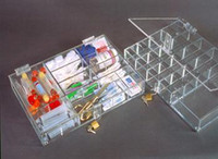 "Parts Dispensers,  Acrylic - Removable Dividers  14""W x 2""H x 10""D  AK-533 by Cleanroom World"