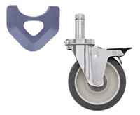 MetroMax Caster, Polyurethane, Stem/Brake, Cart-Washable By Cleanroom World
