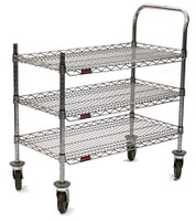 "Utility Carts, 3 Chrome Wire Shelves, Casters, 18"" x 36"" by Cleanroom World"